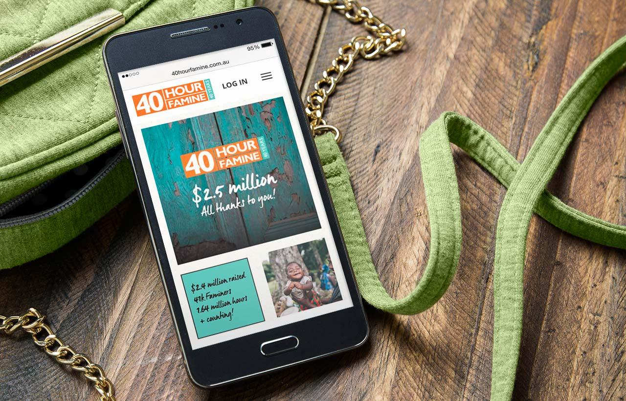 World Vision 40 Hour famine 2015 website - mobile