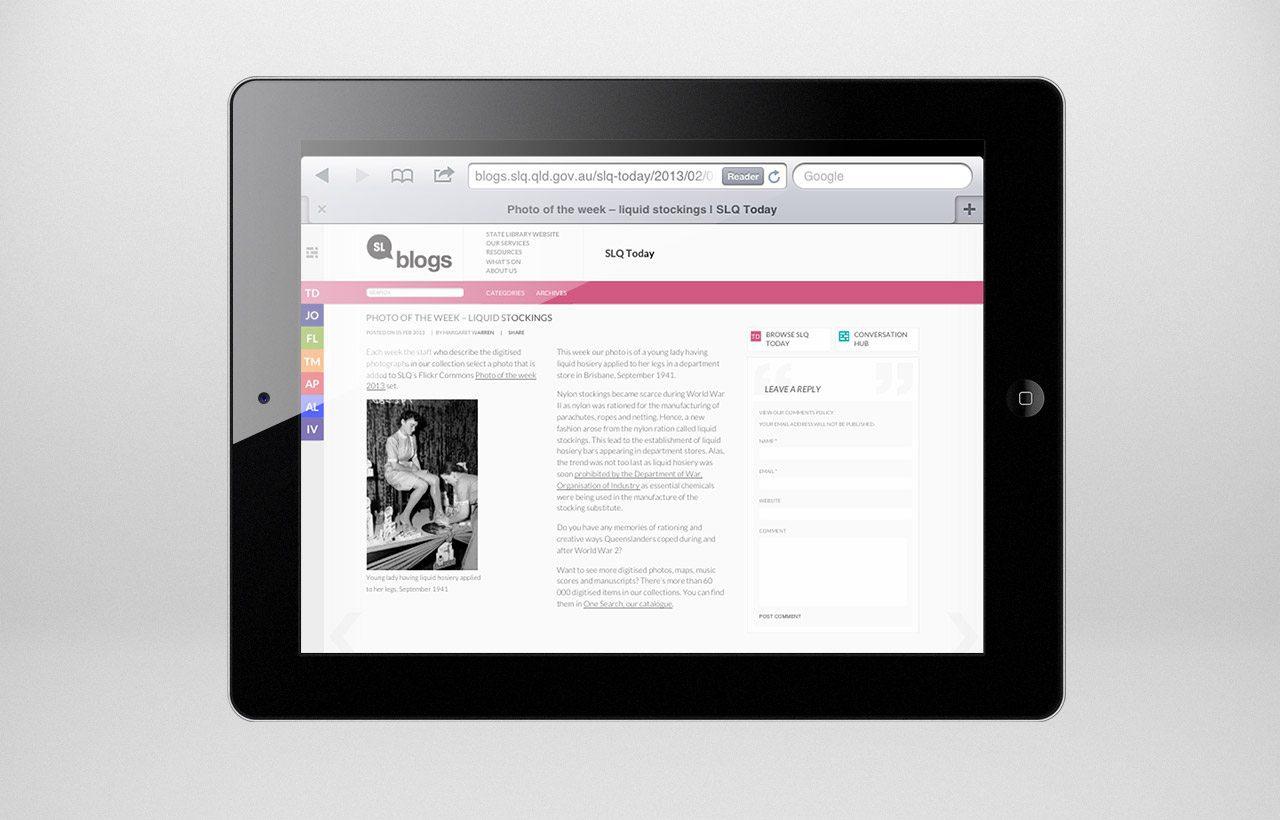State Library of Queensland blog design