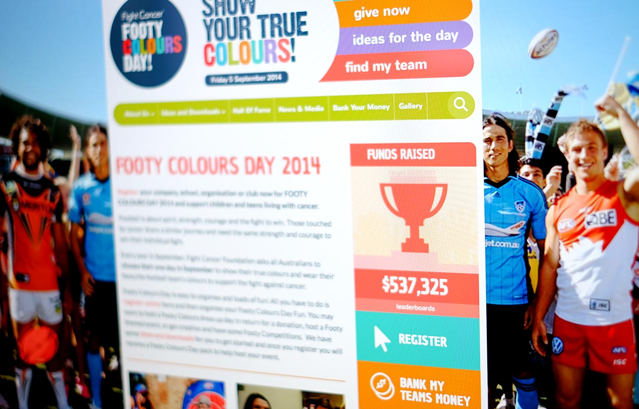 Footy Colours Day website screen