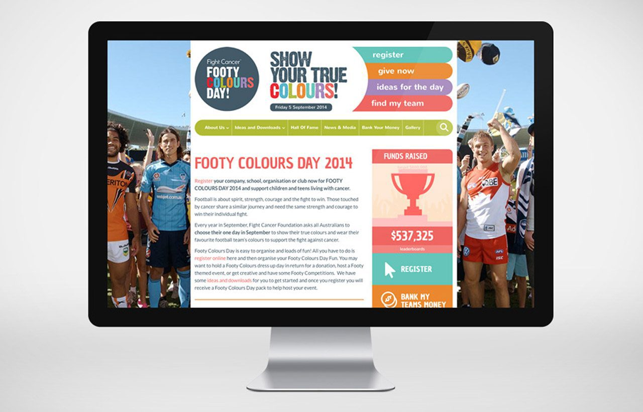 Footy Colours Day website design