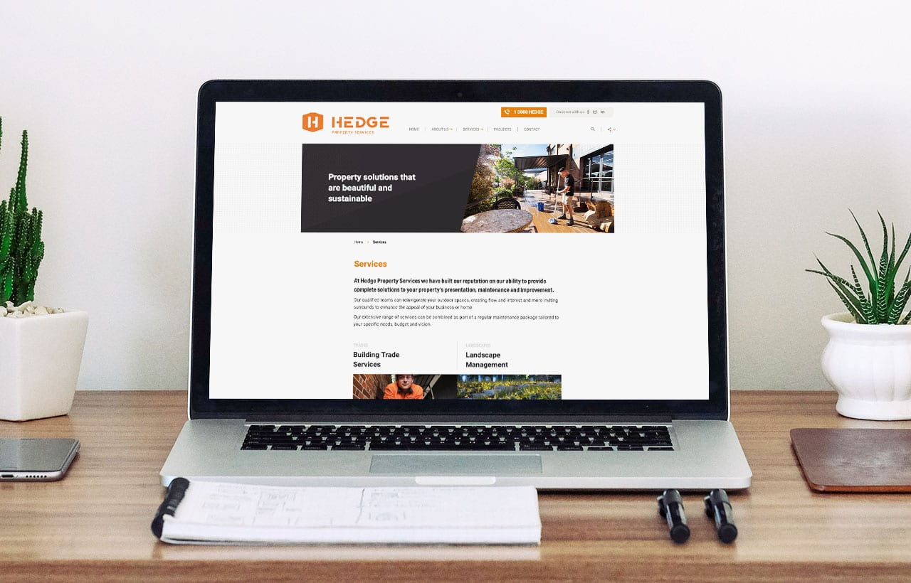 Hedge Property Services website - Macbook