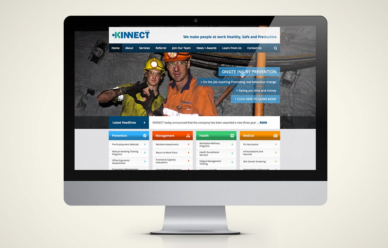 Kinnect website design