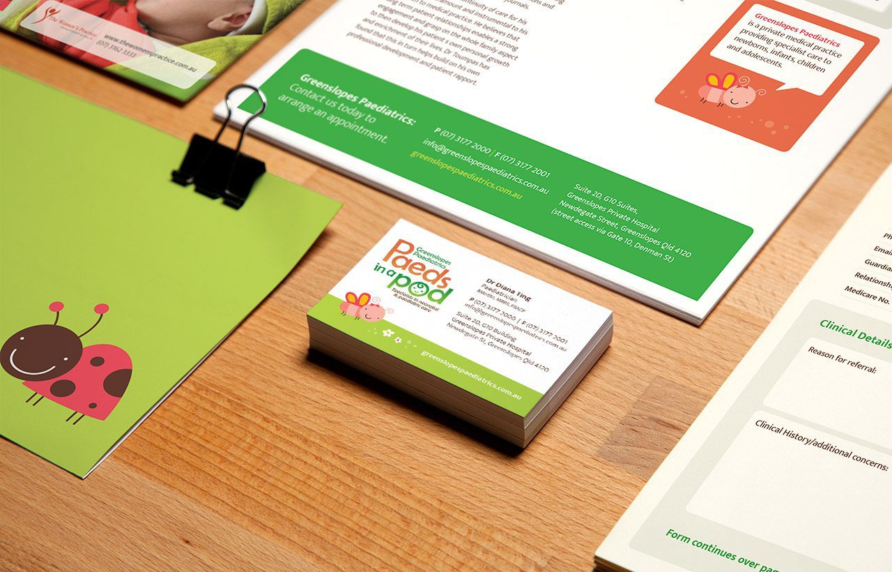 Greenslopes Paediatrics stationery design