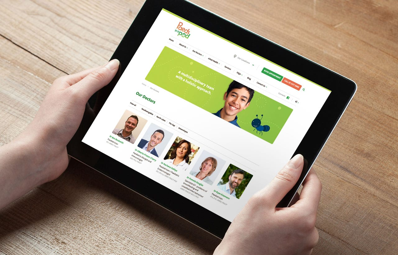 Paeds in a pod website iPad