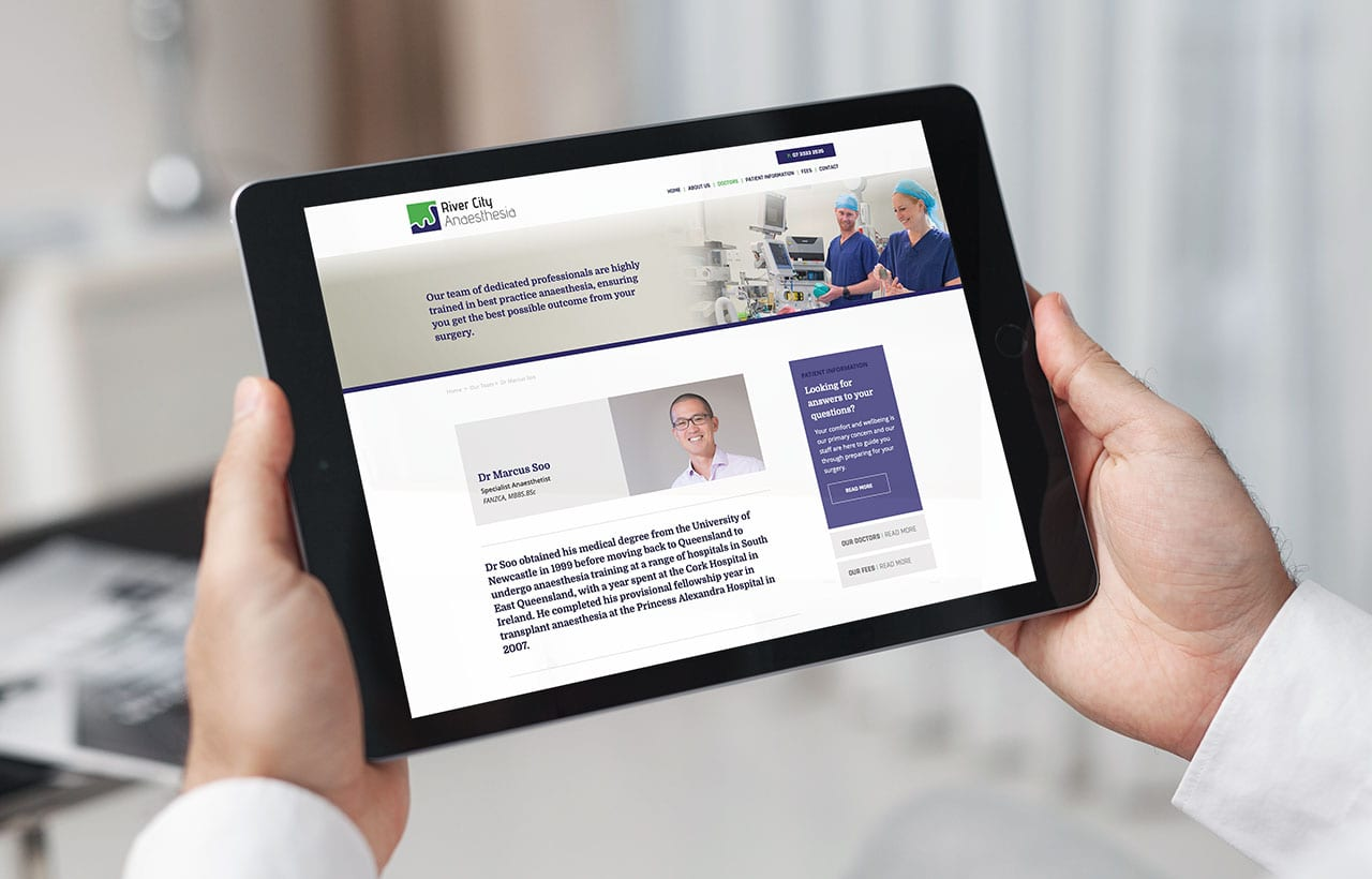 River City Anaesthesia Responsive website