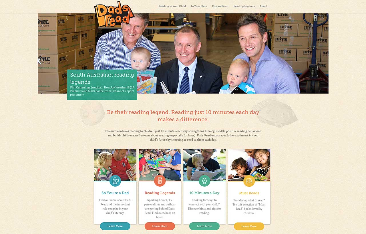 State Library Dad's Read website design