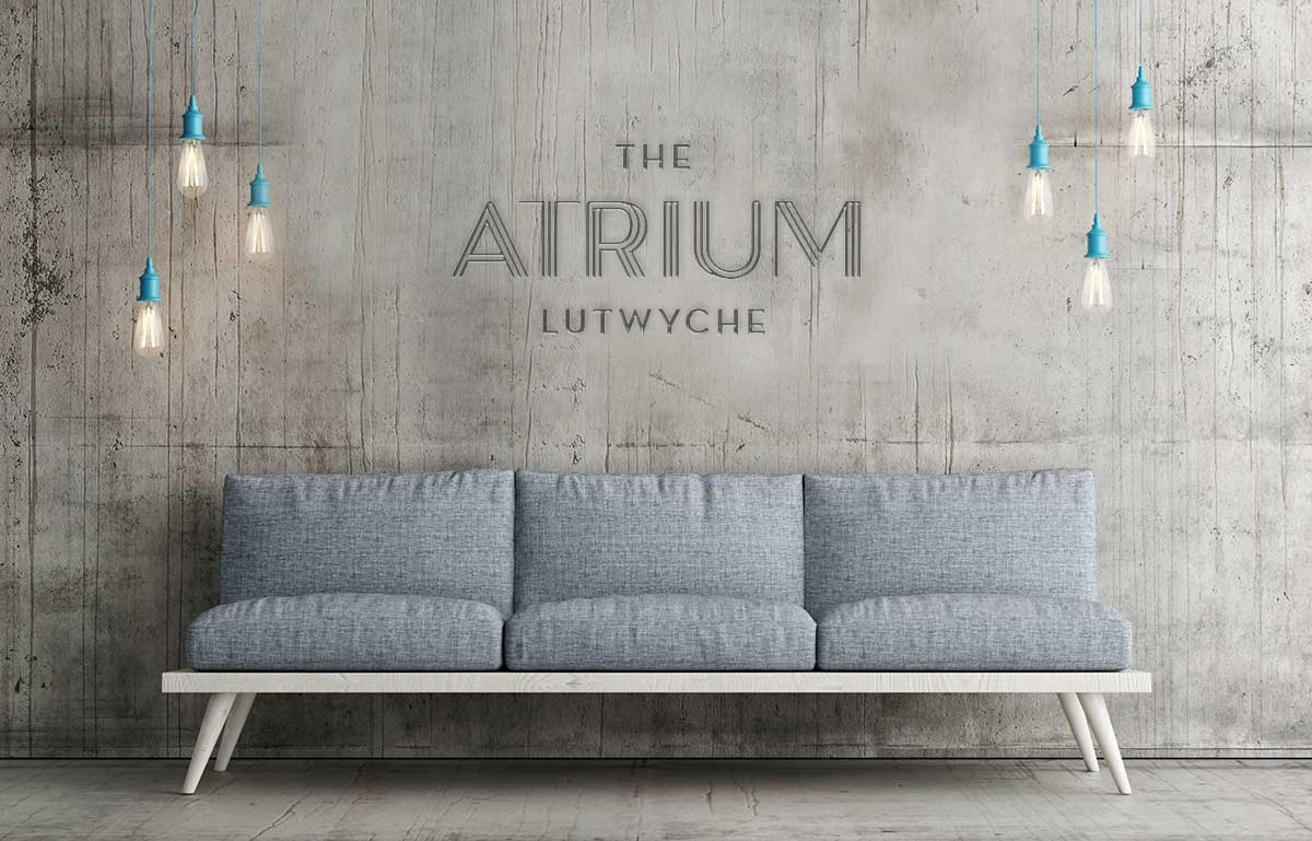 The Atrium Concrete sign