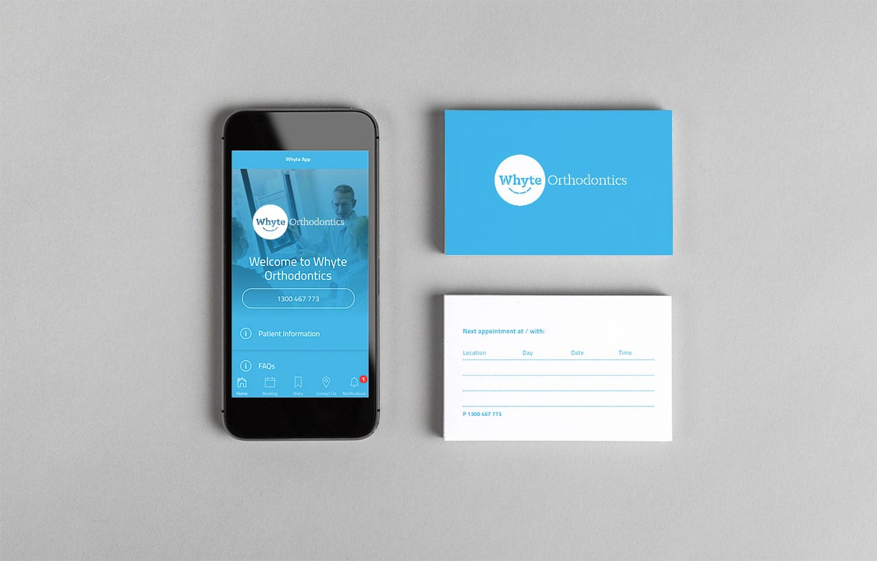 Whyte Orthodontics stationery and app