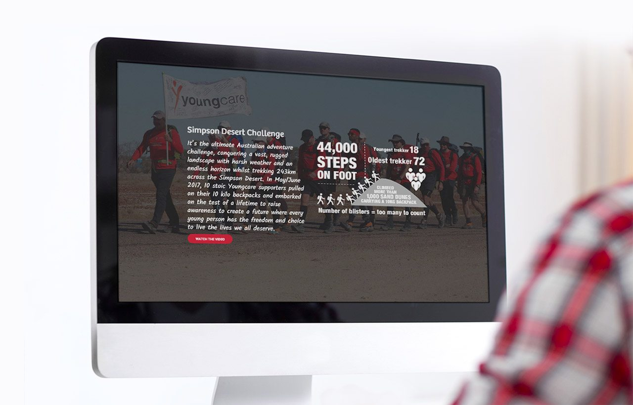 Youngcare digital annual report on screen