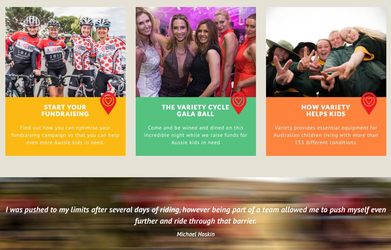Variety Cycle website screen